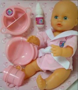 Happy People:50356 Кукла пьет-писает,аксс. для кормл. 38 см.