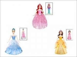 Barbie:W1136 Принцесса. Диснея в волшебном плат.2-в-1 в асс